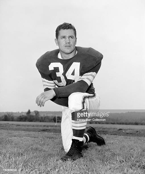 Linebacker Walt Michaels of the Cleveland Browns poses for a portrait during training camp in July 1958 at Hiram College in Hiram Ohio
