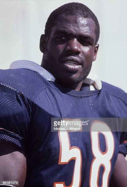 Linebacker Wilber Marshall of the Chicago Bears stands on the sideline before going back into play during a NFL game against the Tampa Bay Buccaneers...