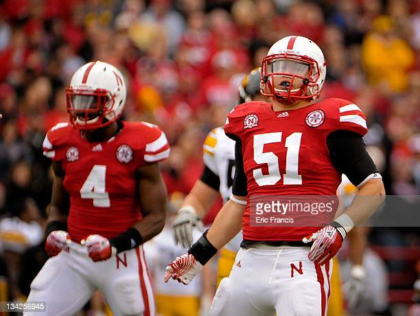 Linebacker Will Compton and linebacker Lavonte David of the Nebraska Cornhuskers celebrate during their game against the Iowa Hawkeyes at Memorial...