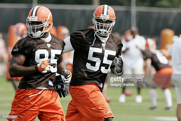 Linebacker Willie McGinest of the Cleveland Browns runs a drill during training camp at the Cleveland Browns Training and Administrative Complex on...
