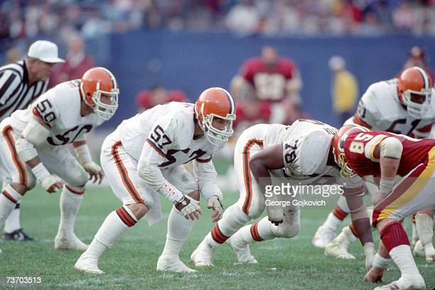 Linebackers Clay Matthews Eddie Johnson and Tom Cousineau and defensive lineman Carl Hairston of the Cleveland Browns line up against the Washington...