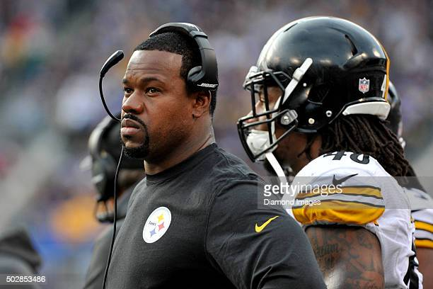 Linebackers coach Joey Porter of the Pittsburgh Steelers watches the action from the sideline during a game against the Baltimore Ravens on December...