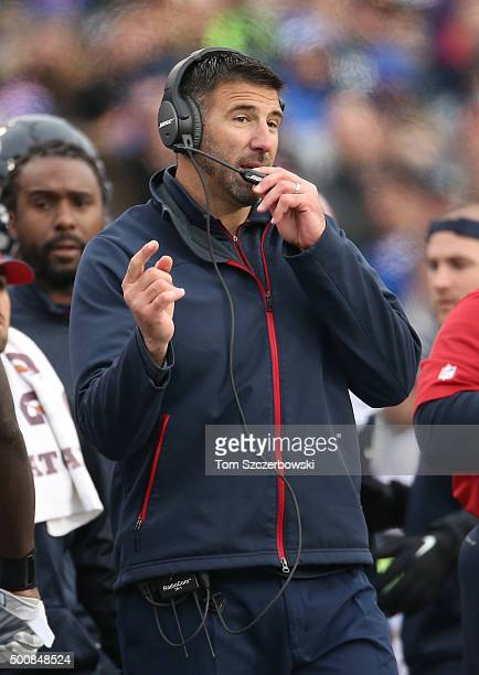 Linebackers coach Mike Vrabel of the Houston Texans motions from the sideline against the Buffalo Bills during NFL game action at Ralph Wilson...