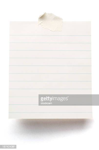 lined blank note paper isolated on white - lined paper stock photos and pictures