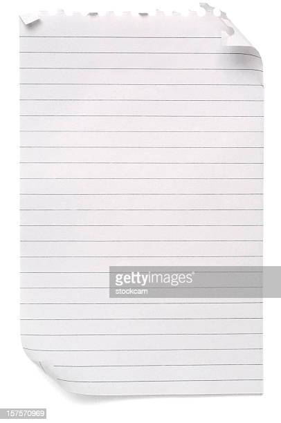 lined sheet of blank note paper - lined paper stock photos and pictures