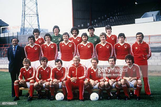 Lined up at Ashton Gate are members of First Division Bristol City FC Back row Peter Cormack John Shaw Clive Whitehead Ray Cashley and Howard...