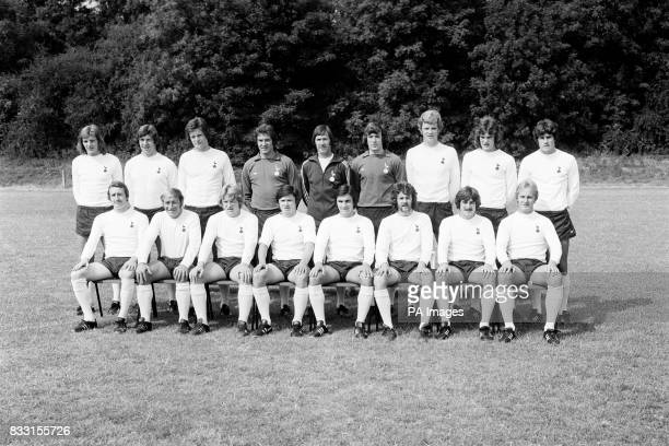 Lined up at their Cheshunt training headquarters ready for the 1976/77 season are First Division Tottenham Hotspur Football Club Back row from left...