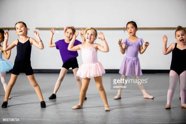lined up diverse young students in dance class - ballet stock pictures, royalty-free photos & images