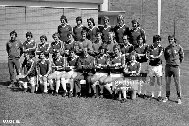 Lined up ready for the 1977/78 season are First Division Everton Football Club Mick Lyons Bob Latchford David Smallman Jim Pearson Ken McNaught and...