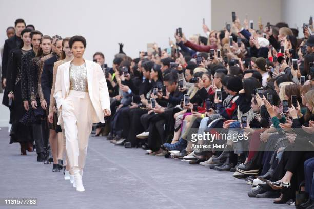 Lineisy Montero and other models walk the runway at the Roberto Cavalli show at Milan Fashion Week Autumn/Winter 2019/20 on February 23, 2019 in...
