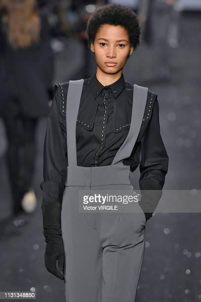 Lineisy Montero walks the runway at the Alberta Ferretti Ready to Wear Fall/Winter 20192020 fashion show during Milan Fashion Week Autumn/Winter...