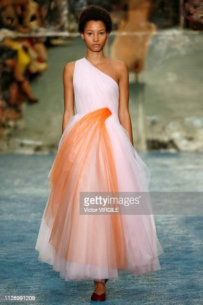 Lineisy Montero walks the runway at the Carolina Herrera Ready to Wear Fall/Winter 2019 fashion show during the New York Fashion Week on February 11...