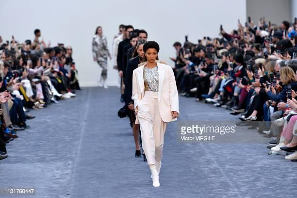 Lineisy Montero walks the runway at the Roberto Cavalli Ready to Wear Fall/Winter 2019-2020 fashion show at Milan Fashion Week Autumn/Winter 2019/20...