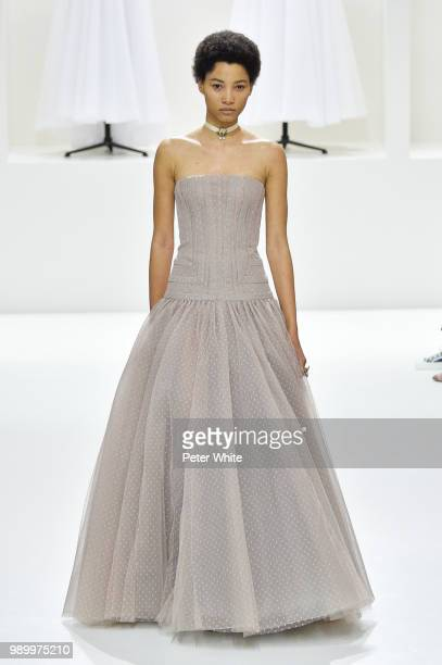 Lineisy Montero walks the runway during the Christian Dior Haute Couture Fall Winter 2018/2019 show as part of Paris Fashion Week on July 2 2018 in...