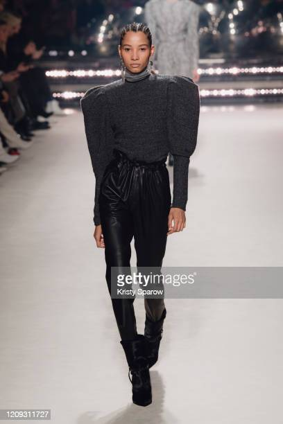 Lineisy Montero walks the runway during the Isabel Marant show as part of Paris Fashion Week Womenswear Fall/Winter 2020/2021 on February 27, 2020 in...