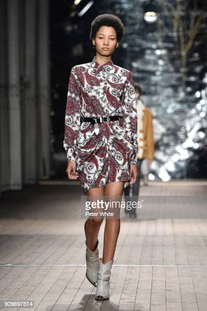Lineisy Montero walks the runway during the Isabel Marant show as part of the Paris Fashion Week Womenswear Fall/Winter 2018/2019 on March 1 2018 in...