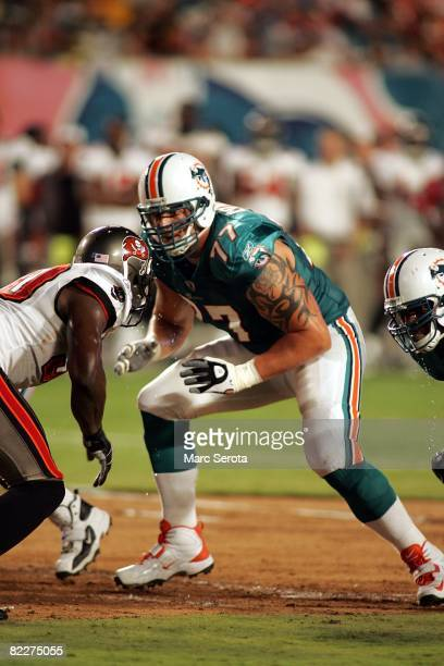 Lineman Jake Long of the Miami Dolphins during a pre season game against the Tampa Bay Buccaneers on August 9 2008 at Dolphin Stadium in Miami...