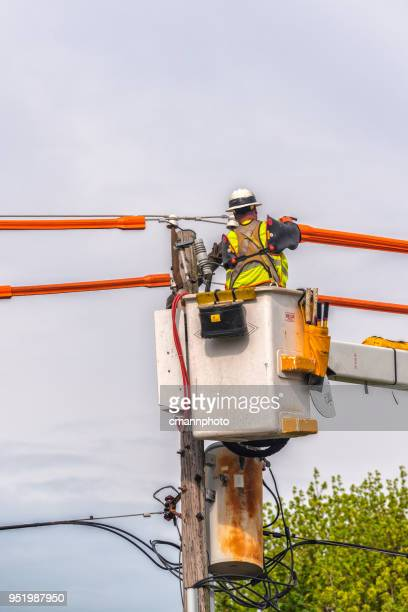 lineman prepares to replace power pole and transformer - cmannphoto stock pictures, royalty-free photos & images