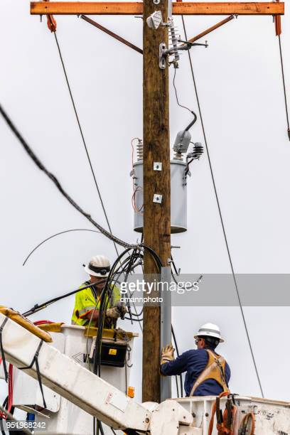 linemen preparing various feeder cables for new telephone pole and transformer - cmannphoto stock pictures, royalty-free photos & images
