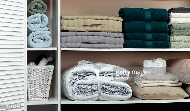 linen closet - storage compartment stock pictures, royalty-free photos & images