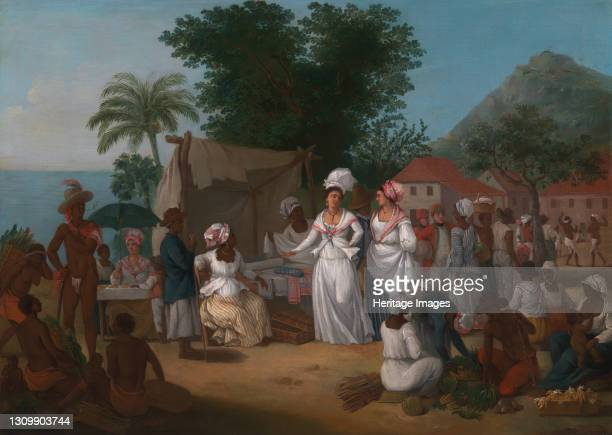 Linen Market with a Linen-stall and Vegetable Seller in the West Indies, ca. 1780. Artist Agostino Brunias. .