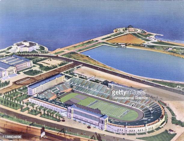 Linen postcard shows a bird's eye view of Soldier Field, Chicago, Illinois, 1941.