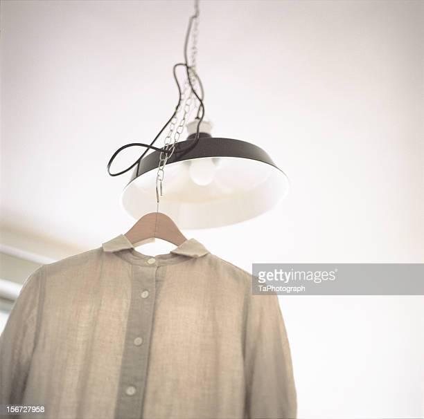 Linen shirt and pendant light