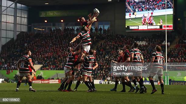 Lineout action during the European Rugby Champions Cup match between Leicester Tigers and Munster at Welford Road on December 17 2016 in Leicester...