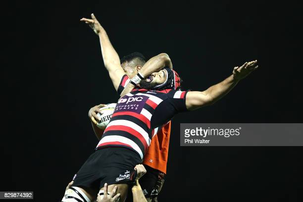 Lineout ball is contested during the Game of Three Halves between the All Blacks and Taranaki at ECOLight Stadium on August 11 2017 in Pukekohe New...