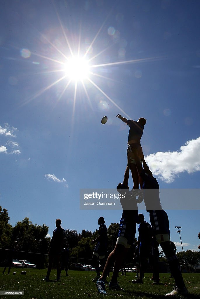 Lineout drills during an Auckland Blues Super Rugby training session at Unitec on January 28, 2014 in Auckland, New Zealand.