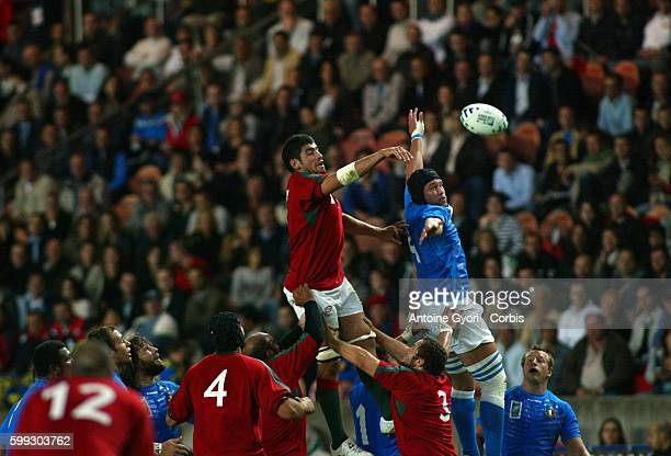 Line-out during the IRB World Cup rugby match between Italy and Portugal.
