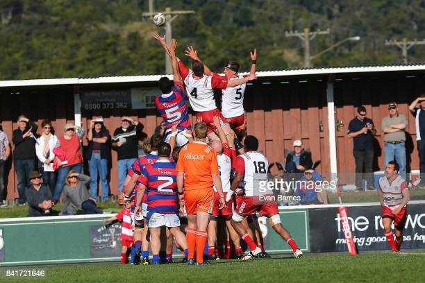 Lineout during the round 2 Heartland Championship match between Buller and West Coast at Rugby Park on September 2 2017 in Greymouth New Zealand