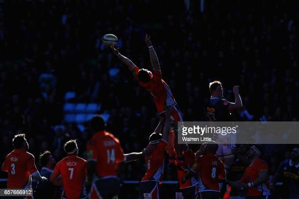 A lineout is contested during the Aviva Premiership match between Harlequins and Newcastle Falcons at Twickenham Stoop on March 25 2017 in London...
