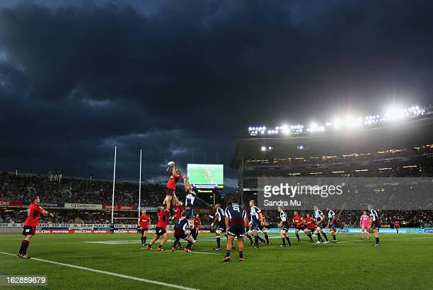 A lineout is thrown during the round 3 Super Rugby match between the Blues and the Crusaders at Eden Park on March 1 2013 in Auckland New Zealand