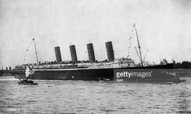 Liner RMS Lusitania arriving in New York september 13 her maiden voyage