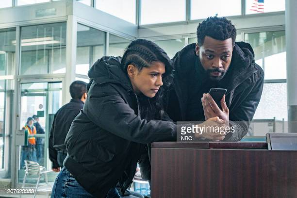 """Lines"""" Episode 718 -- Pictured: Lisseth Chavez as Vanessa Rojas, LaRoyce Hawkins as Kevin Atwater --"""