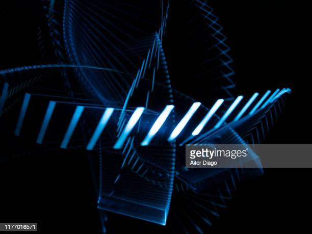 lines forming a futuristic structure in 3d. - stereoscopic images stock photos and pictures