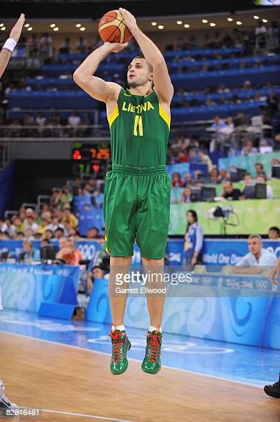 Lines Kleiza of Lithuania shoots a jump shot during a game against Spain in the Men's Basketball Semifinals at the 2008 Beijing Summer Olympics on...