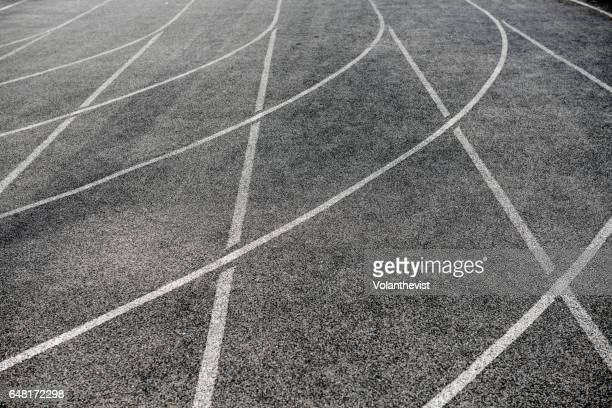 Lines of an athletic running track