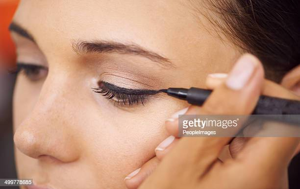 lines of beauty - eye liner stock photos and pictures