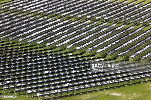 CONTENT] Lines of chairs at Duke graduation commencement ceremony at Wallace Wade Stadium