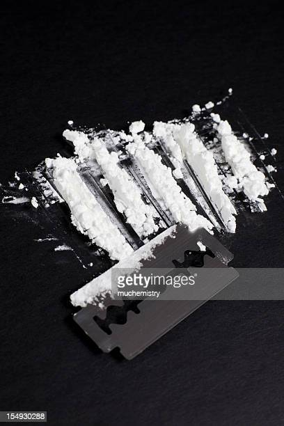 Lines of Cocaine with a Razor Blade