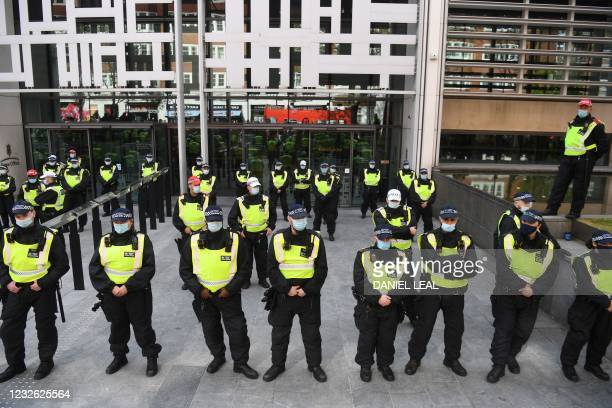 Line of police are seen outside the Home Office as they monitor a protest against the Police, Crime, Sentencing and Courts Bill 2021 in central...