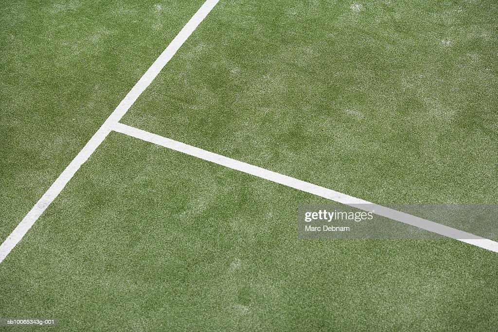 Lines on tennis court, elevated view : Foto stock