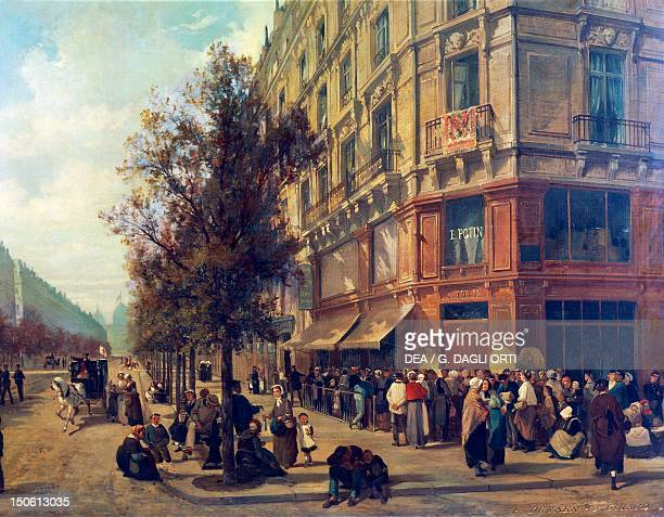 Lines outside the shops of Paris during the siege November 1870 by AlfredCharlesFerdinand Decaen and Jacques Guiaud oil on canvas Detail...