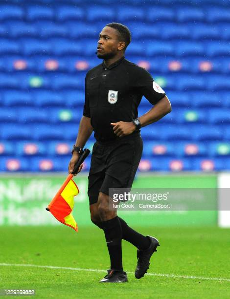 Linesman Akil Howson prepares to check the goal nets prior to kick off of the 2nd half during the Sky Bet Championship match between Cardiff City and...