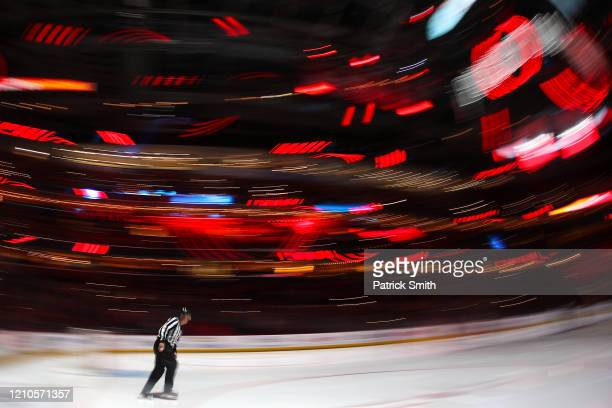 Linesman Brad Kovachik skates prior to the third period between the Philadelphia Flyers and the Washington Capitals at Capital One Arena on March 4,...