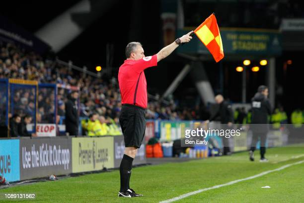 Linesman Darren Cann during the Premier League match between Huddersfield Town and Burnley FC at John Smith's Stadium on January 02 2019 in...