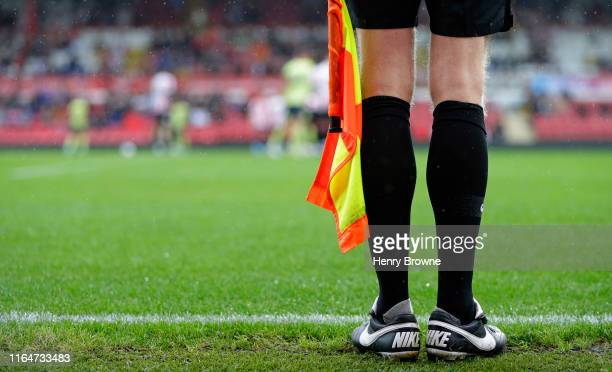 Linesman during the Pre-Season Friendly match between Brentford FC and AFC Bournemouth at Griffin Park on July 27, 2019 in Brentford, England.