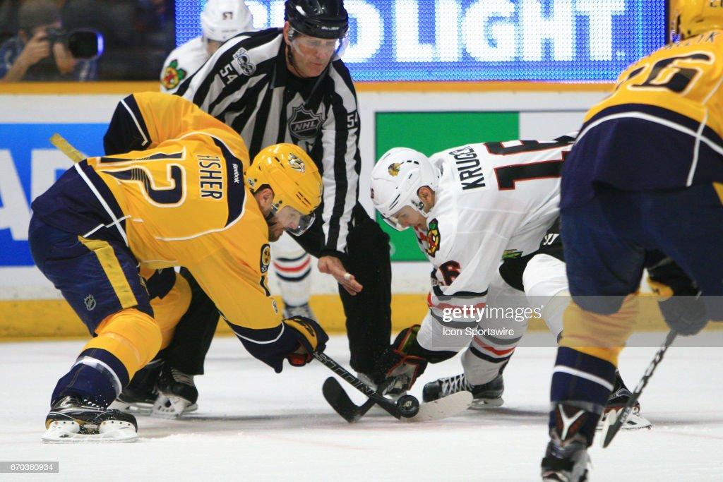 NHL: APR 17 Round 1 Game 3 - Blackhawks at Predators : News Photo